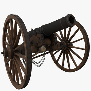3D 6 pound field cannon model