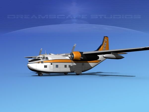 3D model aircraft military cargo fairchild