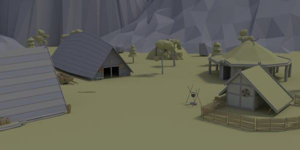 cartoon viking village 3D