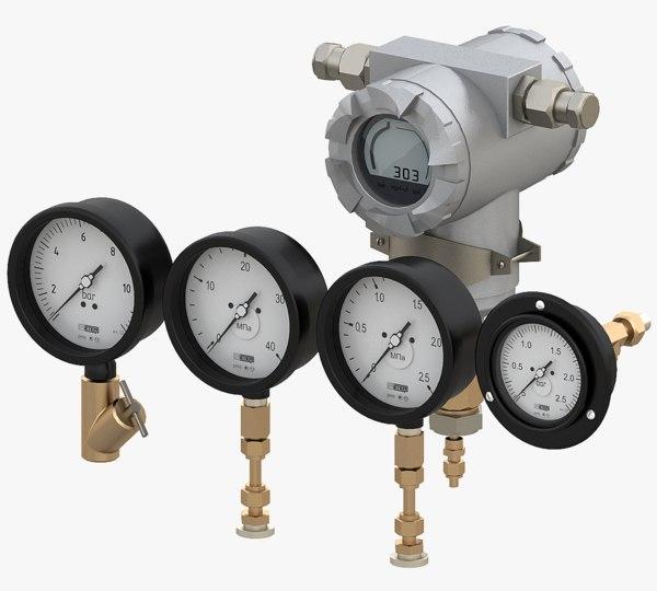3D manometer meter model