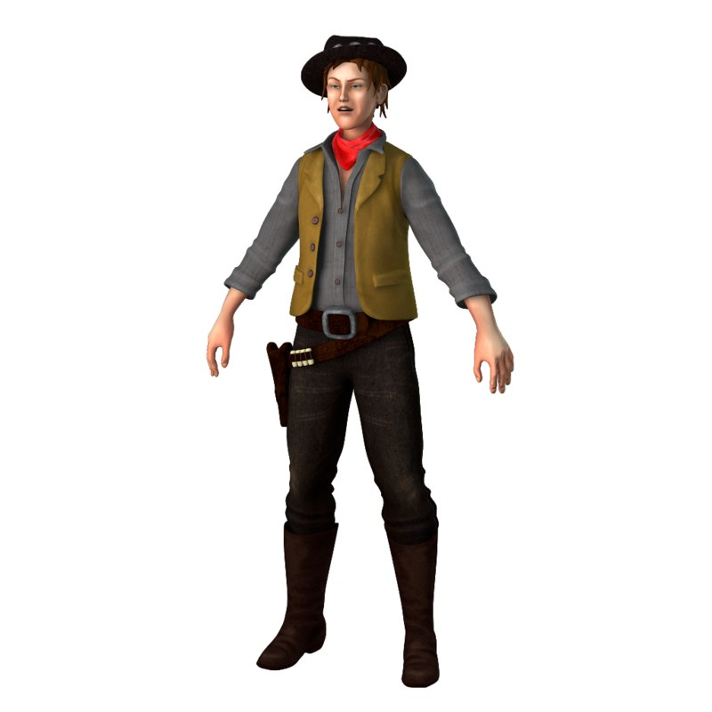 gunfighter billy kid man 3D model
