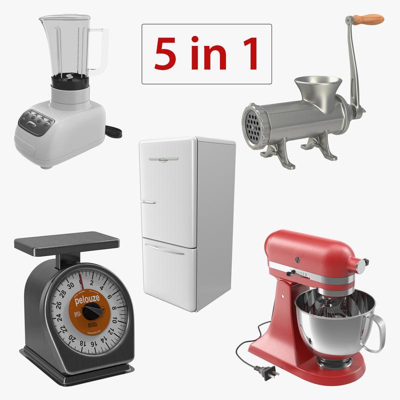 3D retro kitchen appliances model