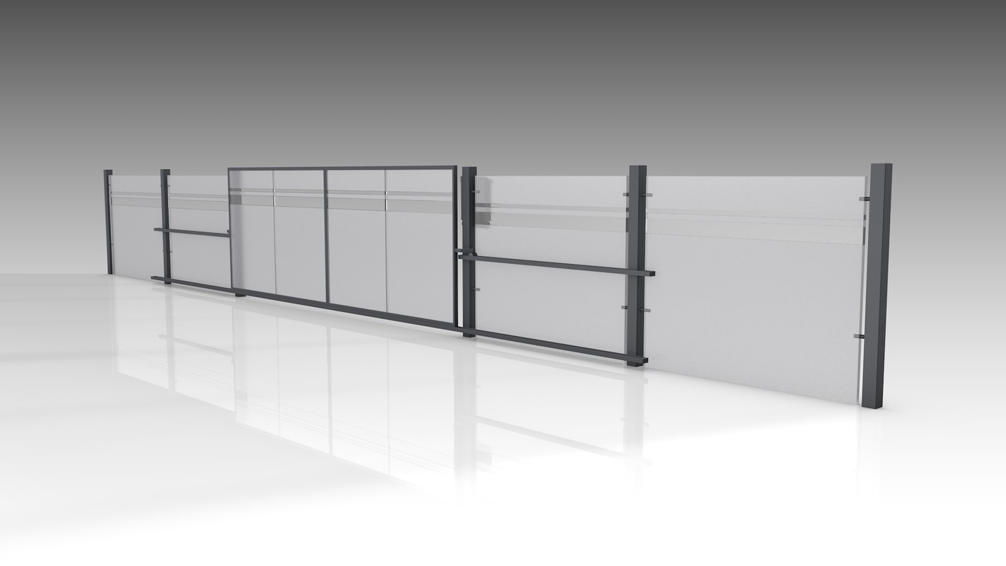 3D gate fence glass model