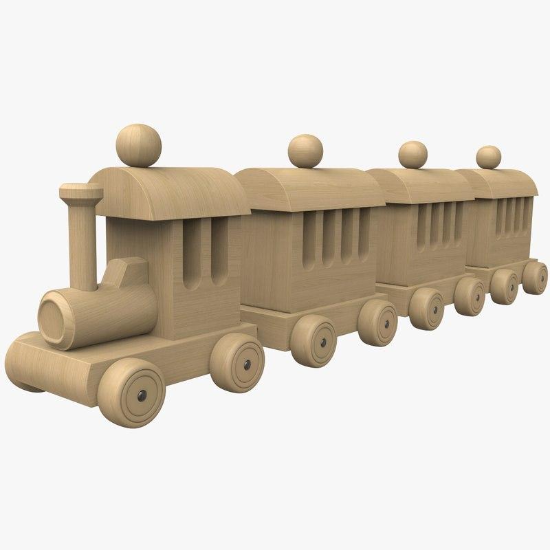 3D wooden train toy model