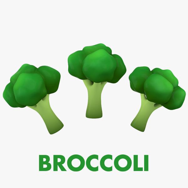 3D cartoon broccoli