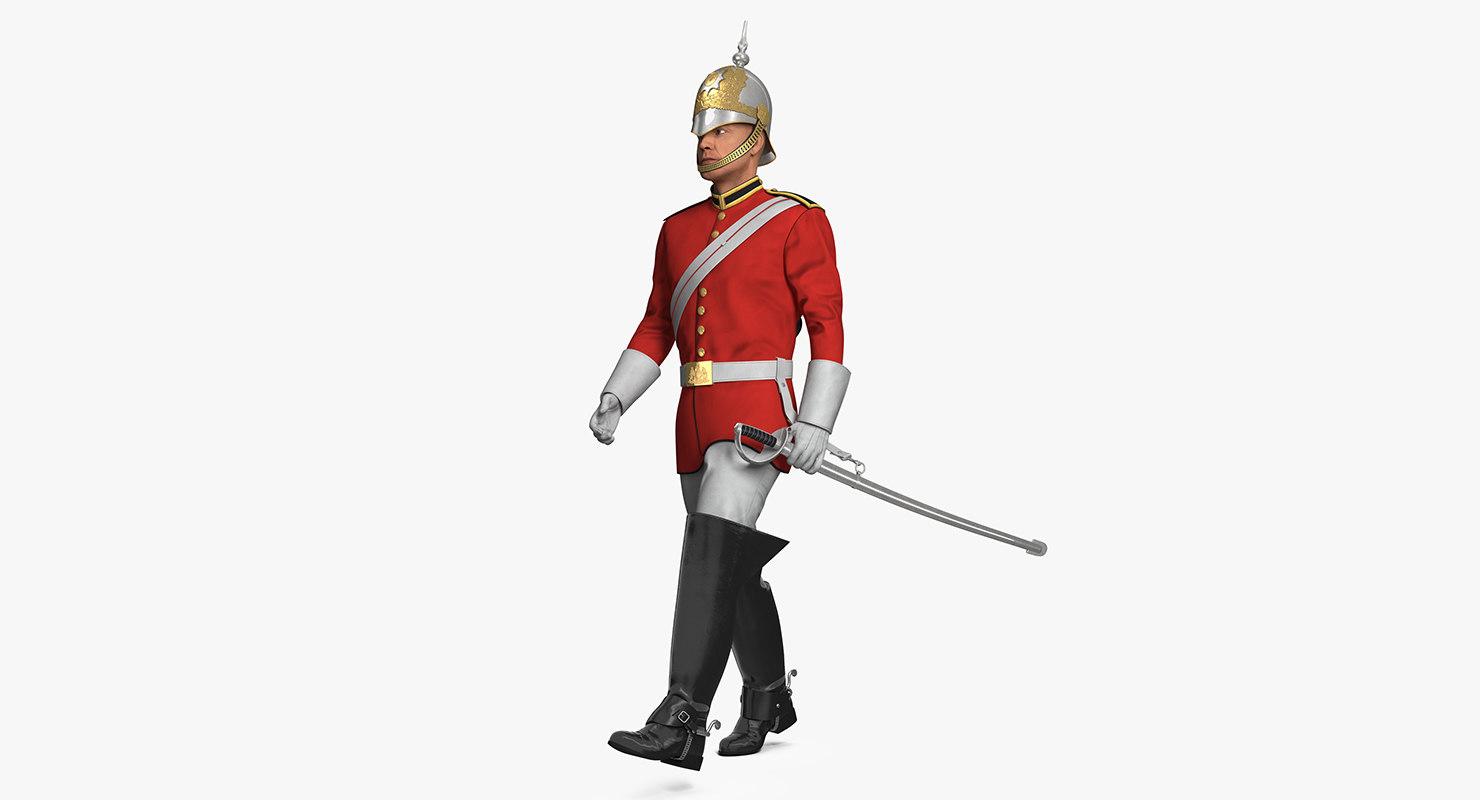 3D british royal lifeguard walking