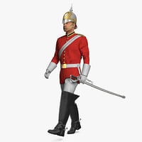 3D british royal lifeguard walking