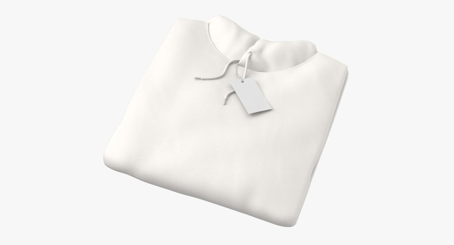 3D male standard hoodie folded model