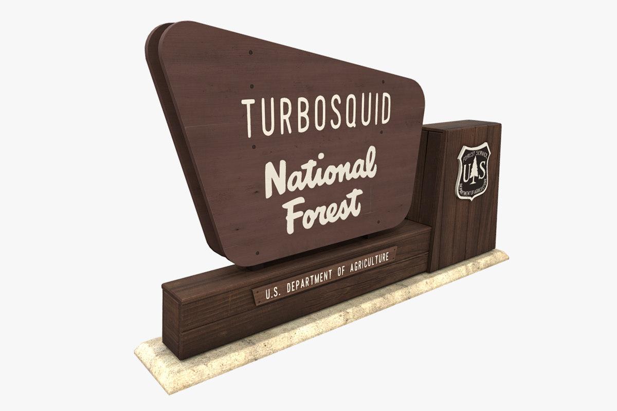 3D model national forest sign