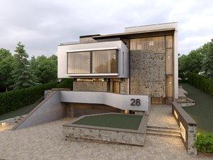 3D modern minimalism house