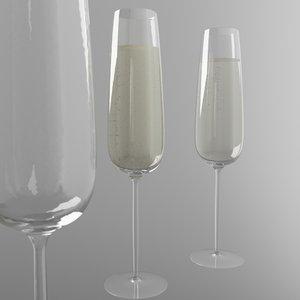 champagne glas 3D model