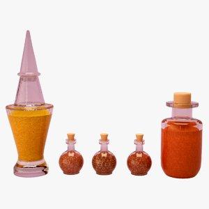 3D bottles spices