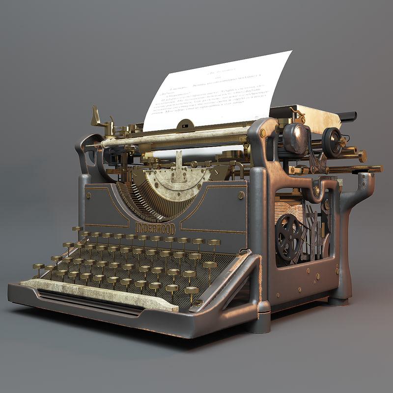 3D vintage typewriter underwood model