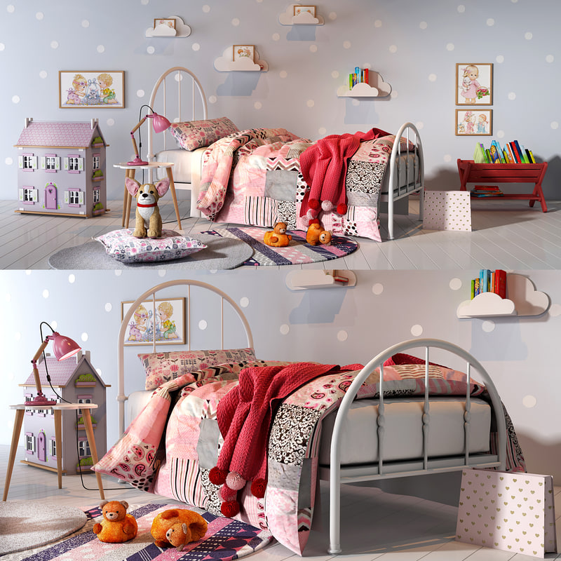 3D model girl bedroom set 01