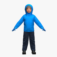 realistic child clothes 3D model