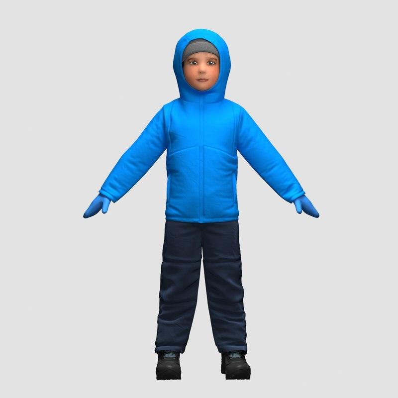 realistic child clothes 3D model