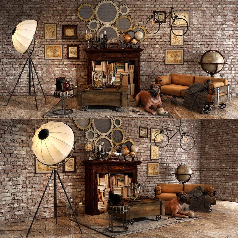 3D loft decorative set model