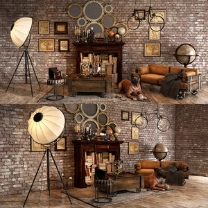 3D loft decorative set model