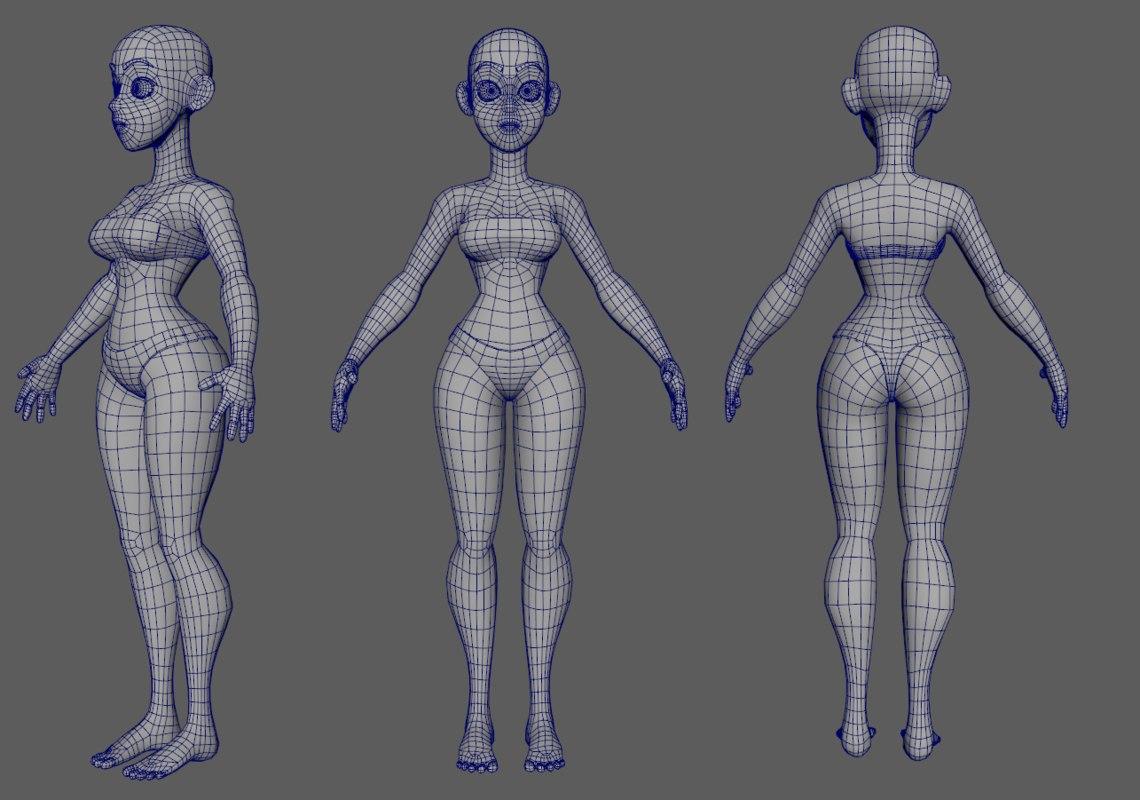 Cartoon girl woman 3D model - TurboSquid 1202809