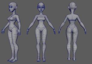 cartoon girl woman 3D model
