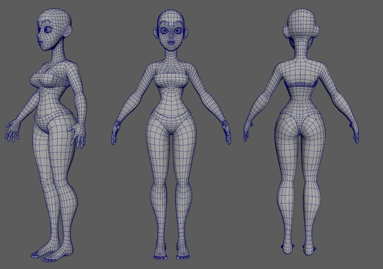 Malha De Corpo Feminino Dos Desenhos Animados Modelo 3d