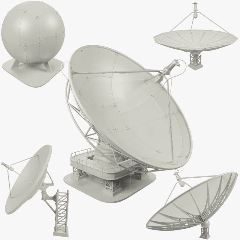 3D model set satellite dishs