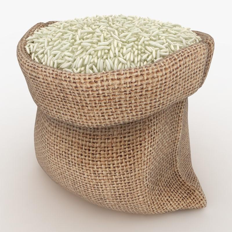 realistic sack rice 3D model