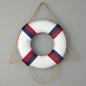 3D nautical life ring decor