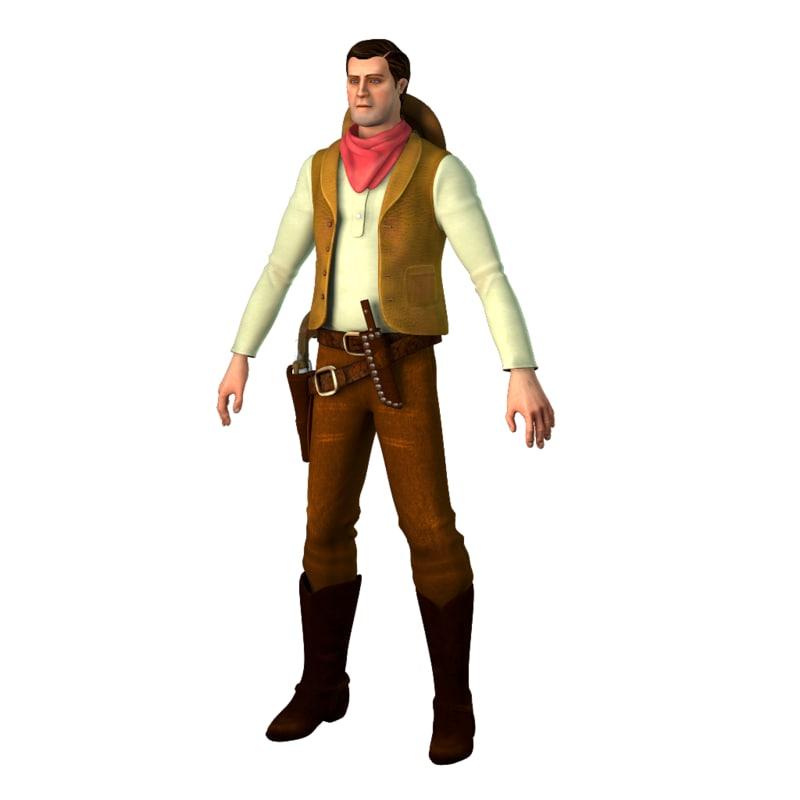 3D gunfighter clay allison man model