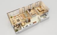 floor plan 2 1 3D model