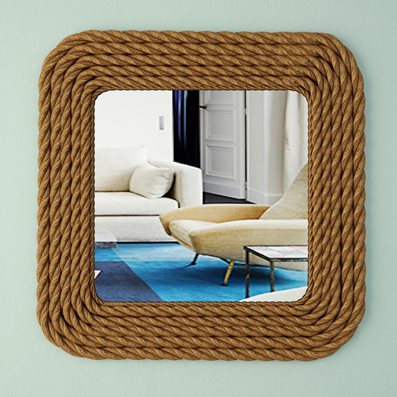 3D model square nautical rope wall mirror