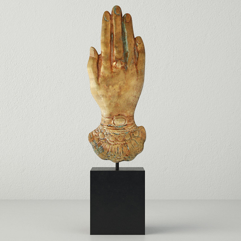3D victorian brass hand paperweight