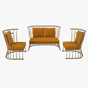 3D model winsdor chair sofa set
