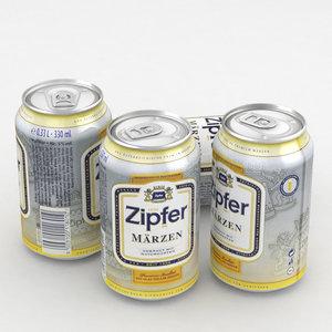 beer zipfer marzen 330ml 3D model