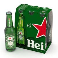 beer bottle heineken 330ml 3D model