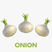 3D model cartoon onion vegetable -