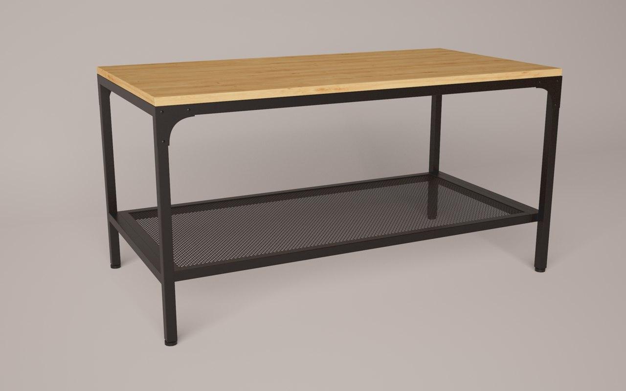 fjllbo coffee table ikea 3D