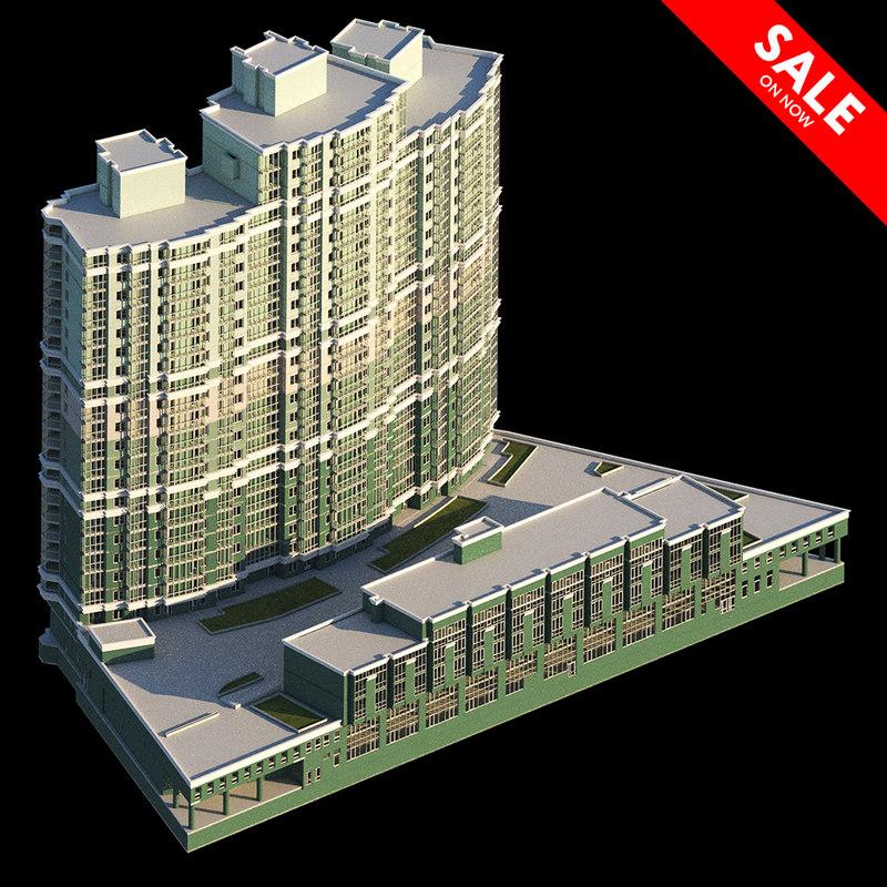 3d Model House Building Residential: Residential Building Model