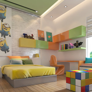 3D reality boy bedroom kids model