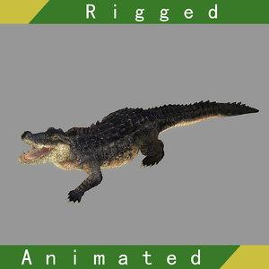 crocodile rigged animation 3D model
