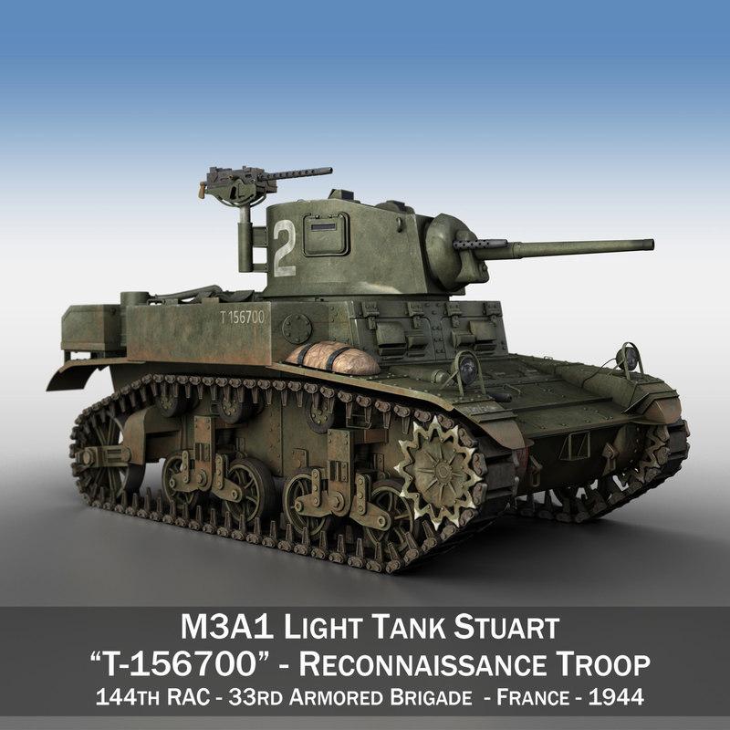 m3a1 light tank stuart 3D