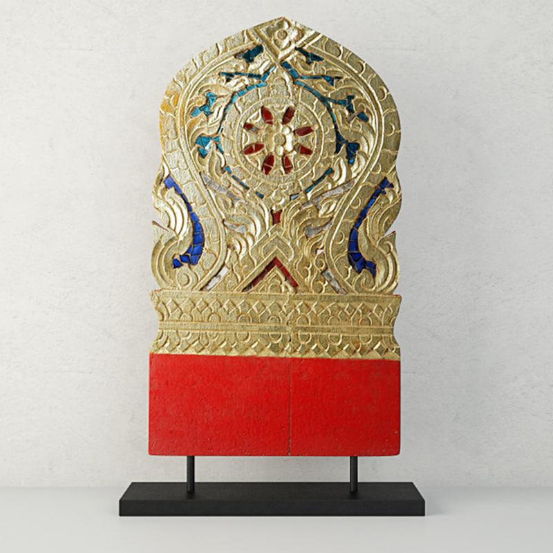 19th century thai wood 3D