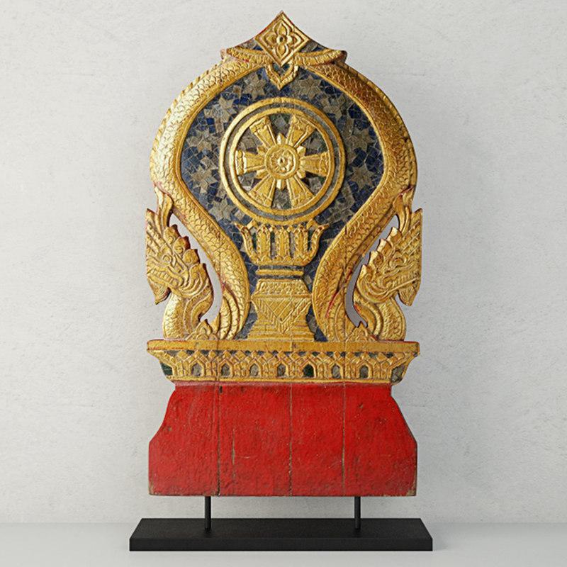 19th century thai wood 3D model