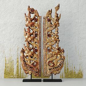 3D antique burmese wooden fragments