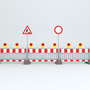 roadwork sign lights 3D model