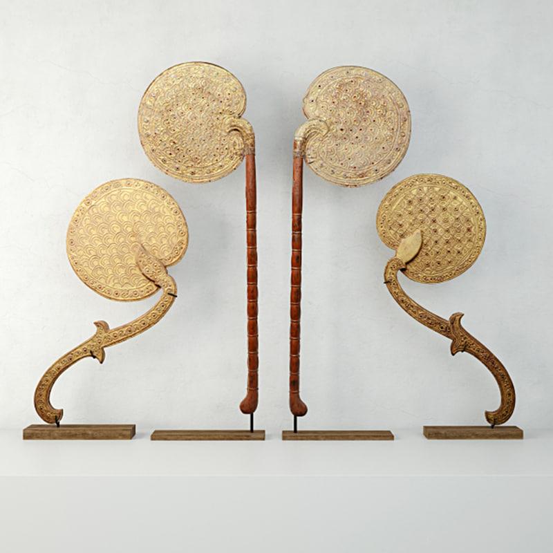 3D model burmese fans