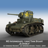 3D m3 light tank stuart model