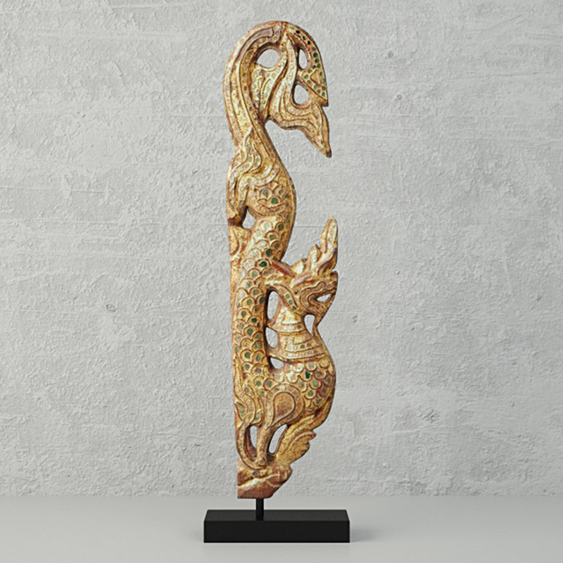 gilded wood carving form 3D model