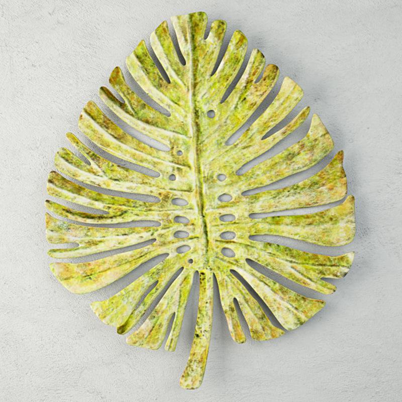 3D green metal leaf wall model
