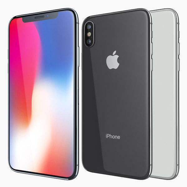 apple iphone x white 3D model 600